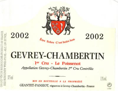 Geantet Pansiot Gevrey Chambertin Poissenots - Click Image to Close