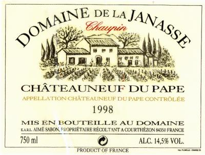Janasse Chateauneuf du Pape Chaupin - Click Image to Close